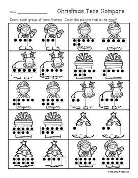 Christmas Tens Frame Comparisons - Number Sense - Greatest