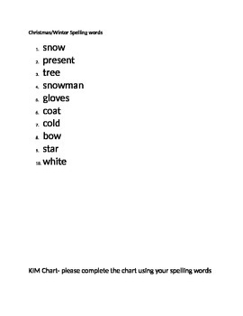 Christmas/Winter spelling words and activites