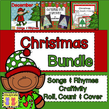 Christmas BUNDLE: Songs & Rhymes | Tree Craftivity | Math Game