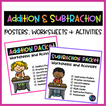 Addition and Subtraction Worksheets and Center Activities Bundle