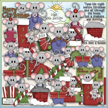 Christmouse Time Clip Art - Christmas Dressed Up Mice Clip