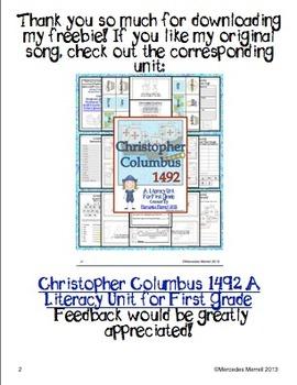 Christopher Columbus An Original Song Freebie!