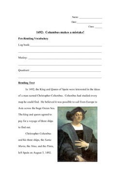 Christopher Columbus Reading Activity