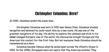 Christopher Columbus Reading Passage and Questions