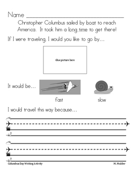 Christopher Columbus Writing Prompt October