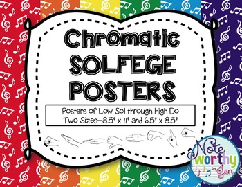 Chromatic Solfege Posters {Curwen Hand Signs--Rainbow Colo