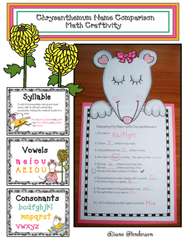 Chrysanthemum Name Comparison Math Craftivity