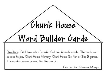 Chunk House Word Builder Cards and Game