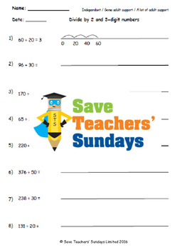 Chunking on a number line, with remainders lesson plans, w