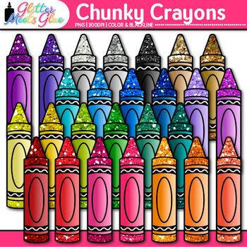 Chunky Crayon Clip Art {Rainbow Glitter Back to School Sup