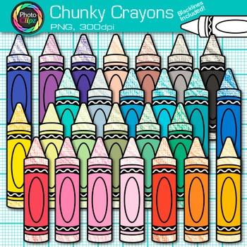 Rainbow Chunky Crayon Clip Art {Back to School Supplies fo