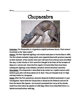 Chupacabra - Cryptid Review Article Information Facts Ques