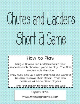 Chutes and Ladders Short A