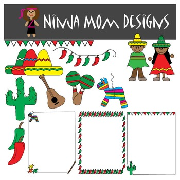Cinco De Mayo Clip Art and Borders in Color and Black Line