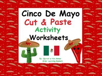 Cinco De Mayo Cut and Paste Activity Worksheets: