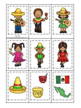 Cinco De Mayo themed Memory Matching preschool learning game.