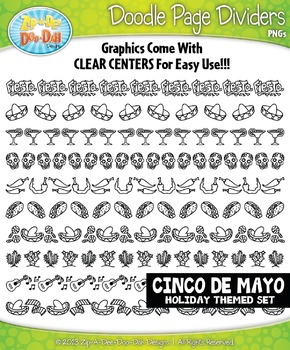 Cinco de Mayo Doodle Page Divider Clipart Set — Includes 1