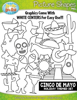 Cinco de Mayo Holiday Picture Shapes Clipart Set — Include