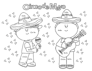Cinco de Mayo Math Facts Addition Coloring Page