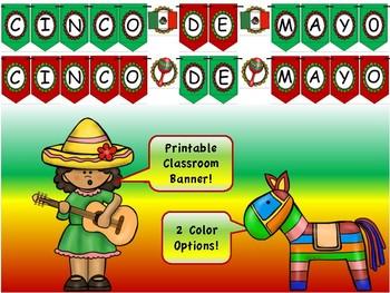 Cinco de Mayo banner- 2 color options!
