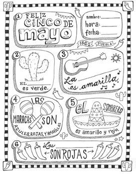 Cinco de mayo ~fill in the blanks and coloring worksheet ~