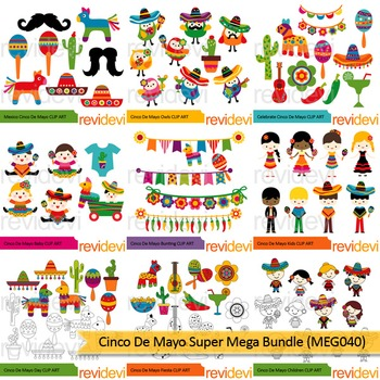 Cinco de mayo super clip art mega bundle (9 packs)