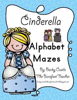 Cinderella Alphabet Tracing Mazes (3 Total)