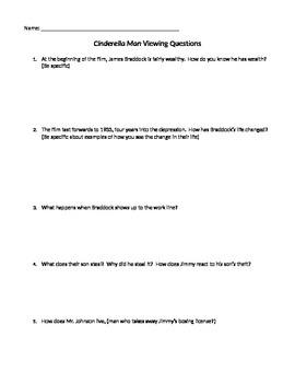 Cinderella Man Movie Viewing Questions