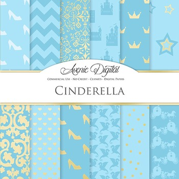 Cinderella Priness Digital Paper scrapbook backgrounds