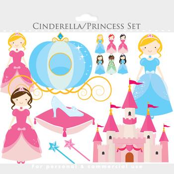 Cinderella clipart - princesses clipart, castle, glass sli