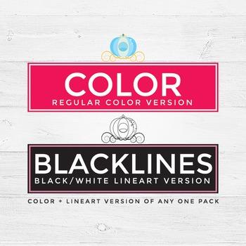 Cinderella princess clipart color and blacklines glass sli