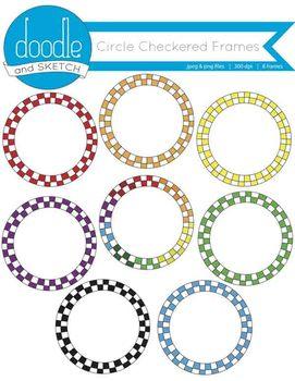 Circle Checkered Frames {Rainbow Variety}