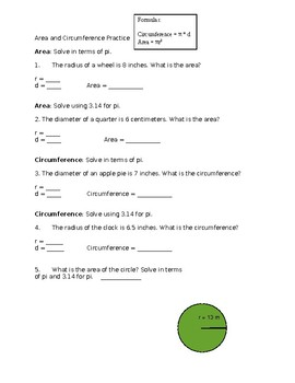 Circle Circumference and Area Quiz