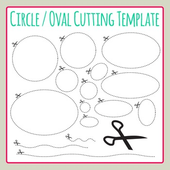 Circle Cutting Oval Scissor Dashed Template Clip Art for C