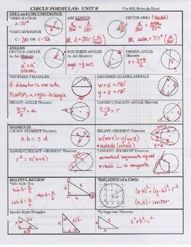 Circle Formula Sheet (blank + key)