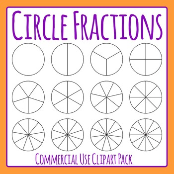 Circle Fractions Clip Art Set for Commercial Use