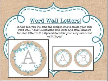 Circle Frame Word Wall Headers - Burlap, Teal, Bunting {Tw