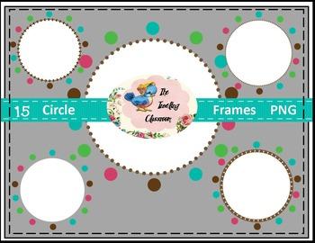 Borders Borders - Circle Frames (Digital Circle Frames for