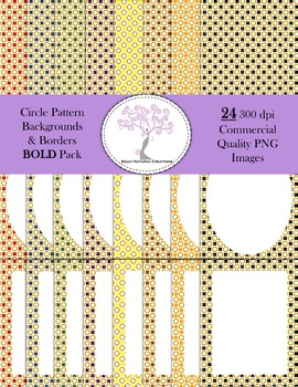 Circle Pattern Backgrounds and Borders Bold Pack (24 PNG I