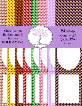 Circle Pattern Backgrounds and Borders Holiday Pack (24 PN