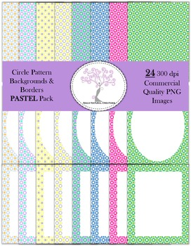 Circle Pattern Backgrounds and Borders Pastel Pack (24 PNG