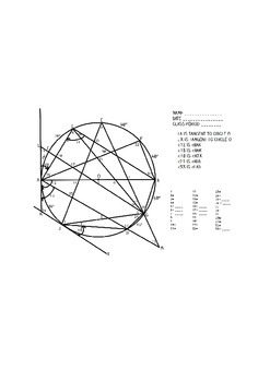 Circle Practice Worksheet or Test- Geometry (angles of a circle)