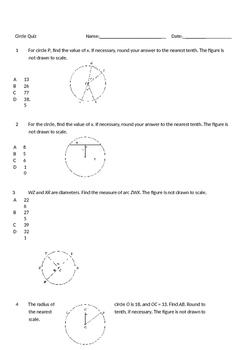 Circle Quiz - MC 10 questions