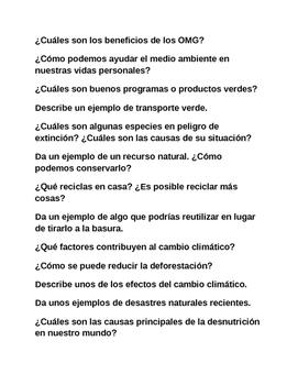 Circle Speaking Activity IB Spanish Spanish 3 or 4 Environ