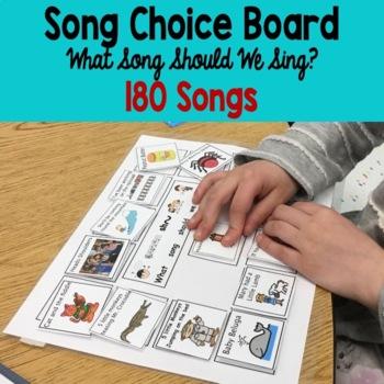 Preschool-Kindergarten song choice board: Regular and Spec