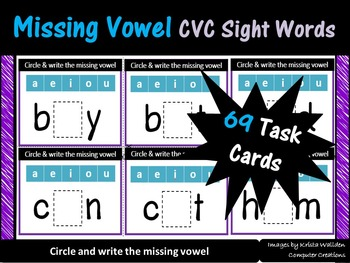 Missing Vowel CVC Sight Words Task Cards (Fry List)