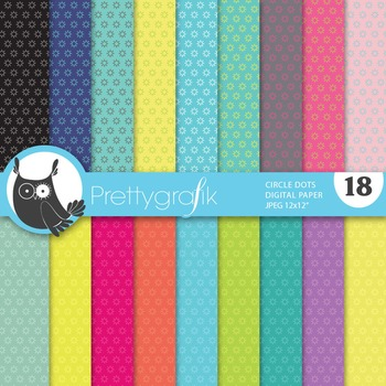 Circle dot digital paper, commercial use, scrapbook papers