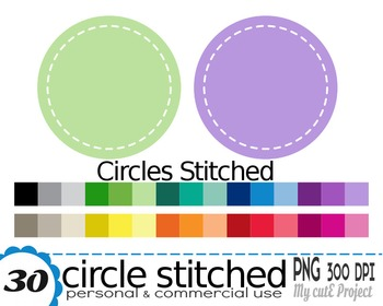 Circle stitched - Clipart - 30 PNG files - Scrapbooking cl
