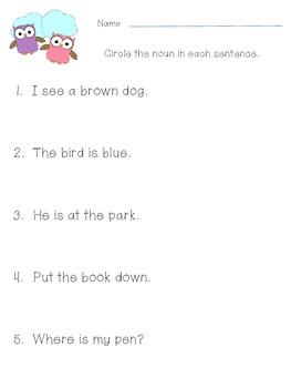 Circle the Noun Worksheets