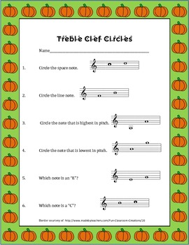 Circle the correct answer in treble clef with pumpkin border